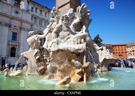 The Four Rivers fountain in Piazza Navona, Rome, Lazio, Italy, Europe - Stock Photo