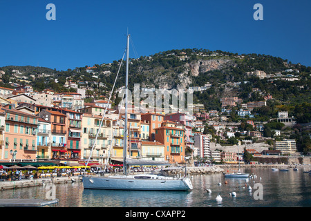 Colourful buildings along waterfront, Villefranche, Alpes-Maritimes, Provence-Alpes-Cote d'Azur, French Riviera, - Stock Photo
