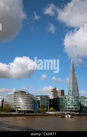 View of the Shard, City Hall and More London along the River Thames, London, England, United Kingdom, Europe - Stock Photo