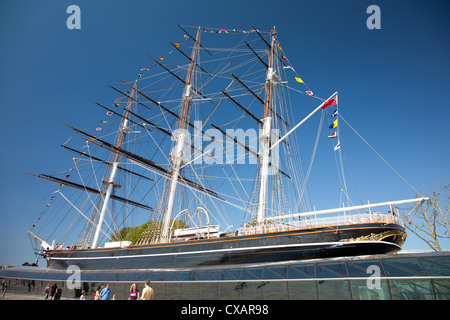 View of the Cutty Sark after restoration, Greenwich, London, England, United Kingdom, Europe - Stock Photo