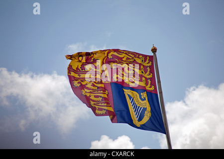 The Royal Standard flying above Buckingham Palace, Trooping the Colour ceremony, London - Stock Photo