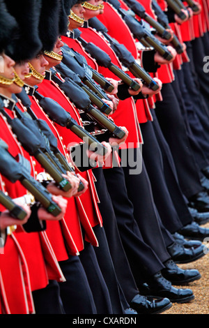 Soldiers at Trooping the Colour 2012, The Queen's Birthday Parade, Horse Guards, Whitehall, London, England, United - Stock Photo