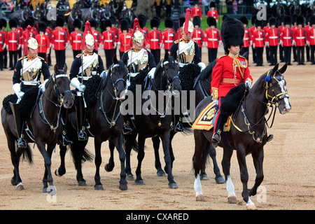 Soldiers at Trooping the Colour 2012, The Birthday Parade of the Queen, Horse Guards, Whitehall, London, England, - Stock Photo