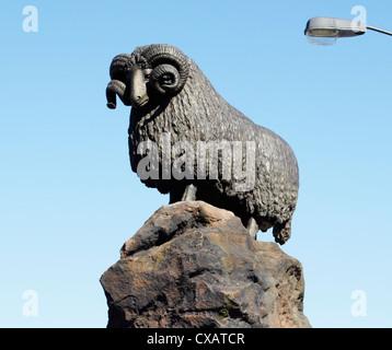 The Moffat Ram with clear blue sky behind. Moffat. Scotland - Stock Photo
