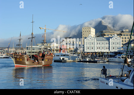 Replica pirate ship, Waterfront harbour, Table Mountain in background, Cape Town, South Africa, Africa - Stock Photo