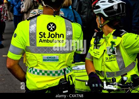 St John Ambulance cycle responders York North Yorkshire England UK United Kingdom GB Great Britain - Stock Photo