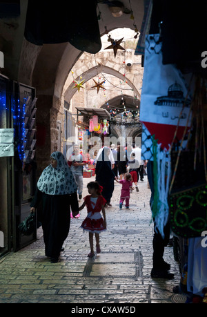 Ramadan decorations in the Old City, Jerusalem, Israel, Middle East - Stock Photo