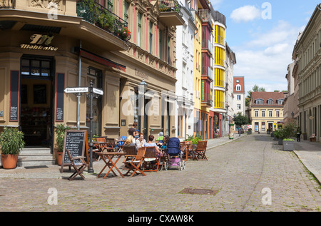 street and cafe by Town Hall, Koepenick, Berlin, Germany - Stock Photo