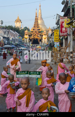 Young nun novices in front of the eastern entrance to Shwedagon, Yangon, Myanmar (Burma), Asia - Stock Photo