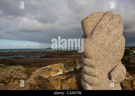 St. Malo sculpture, Thanksgiving Memorial, La Corbiere, St. Brelade, Jersey, Channel Islands, United Kingdom, Europe - Stock Photo