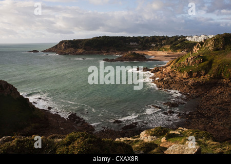 Portelet Bay from Noirmont Point, Jersey, Channel Islands, United Kingdom, Europe - Stock Photo