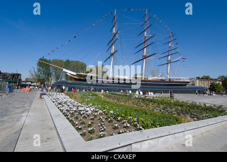 The renovated Cutty Sark Tea Clipper, Greenwich, London, England, United Kingdom, Europe - Stock Photo