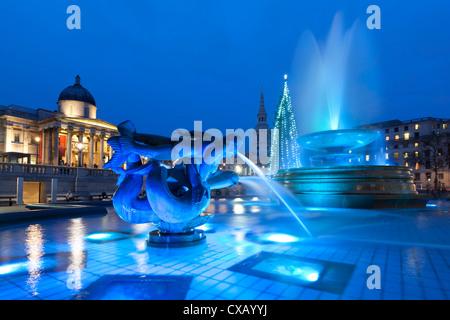 Trafalgar Square at Christmas, London, England, United Kingdom, Europe - Stock Photo
