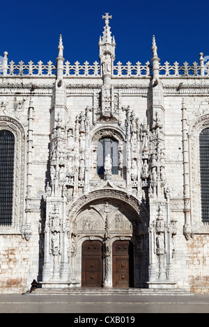 Main entrance with carving of Henry the Navigator, Mosteiro dos Jeronimos, UNESCO World Heritage Site, Belem, Lisbon, - Stock Photo