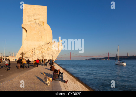 Monument to the Discoveries beside the Tagus River, Belem, Lisbon, Portugal, Europe - Stock Photo
