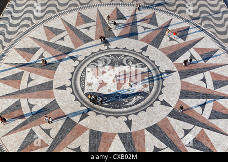 Pavement map showing routes of Portugese explorers below Monument to the Discoveries, Belem, Lisbon, Portugal, Europe - Stock Photo