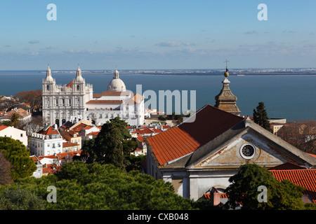 View from Castelo de Sao Jorge to Sao Vicente de Fora church, Lisbon, Portugal, Europe - Stock Photo