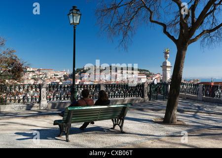 View over city from Miradouro de Sao Pedro de Alcantara, Bairro Alto, Lisbon, Portugal, Europe - Stock Photo