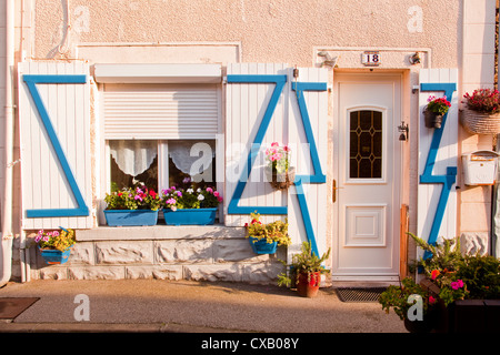 A colourful old fisherman's house in Saint Vaast La Hougue, Cotentin Peninsula, Normandy, France, Europe - Stock Photo