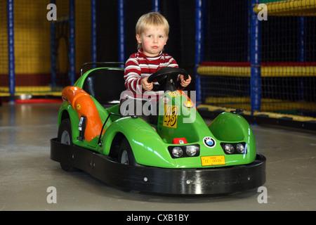 Rostock, child on the kart track in Kinderland Rostock - Stock Photo