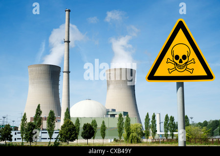 Danger sign with skull at Grafenrheinfeld nuclear power station in Germany - Stock Photo