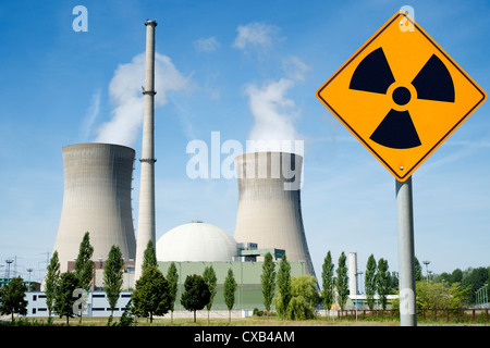 Radiation warning sign near Grafenrheinfeld nuclear power station in Germany - Stock Photo