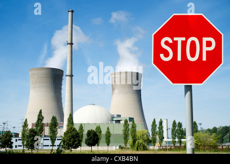 Stop sign at Grafenrheinfeld nuclear power station in Germany - Stock Photo