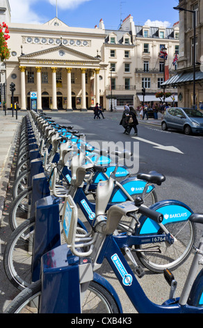 Barclays Boris Bikes for hire in a docking station Central London England UK GB EU Europe - Stock Photo