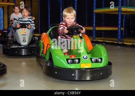 Rostock, children at the kart track in Kinderland Rostock - Stock Photo