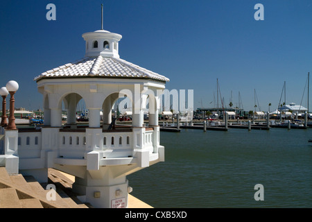 White pavilion on the promenade of Corpus Christi, Texas, USA. - Stock Photo