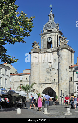 The town gate Grosse Horloge in the old harbour / Vieux-Port at La Rochelle, Charente Maritime, Poitou-Charentes, - Stock Photo