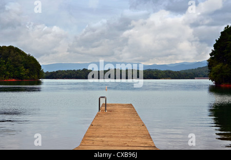 A Wooden Boat Ramp At Lake Chatuge In North Georgia Stock Photo