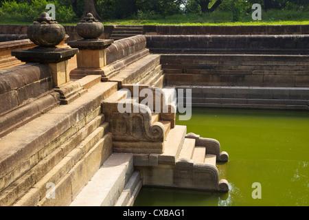 Steps of the Twin Ponds (Kuttam Pokuna), Abhayagiri Complex, Anuradhapura, UNESCO World Heritage Site, Sri Lanka, - Stock Photo