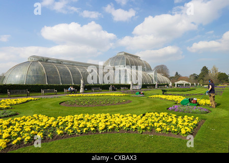 Palm House in spring, Royal Botanic Gardens, Kew, UNESCO World Heritage Site, London, England, United Kingdom, Europe - Stock Photo