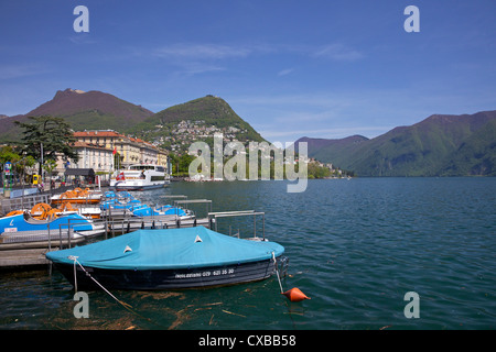 Lakeside in sunshine, city of Lugano, Lake Lugano, Ticino, Switzerland, Europe - Stock Photo