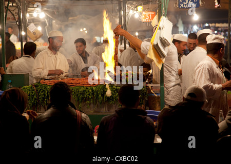 Market food stall, Place Jemaa El Fna, Marrakesh, Morocco, North Africa, Africa - Stock Photo