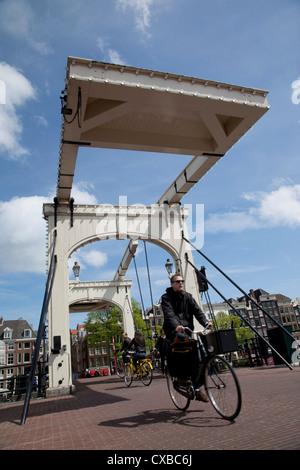 Magere Brug (Skinny Bridge), Amsterdam, Holland, Europe - Stock Photo