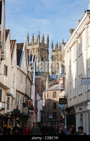Towers of the Minster from Petergate, York, Yorkshire, England, United Kingdom, Europe - Stock Photo