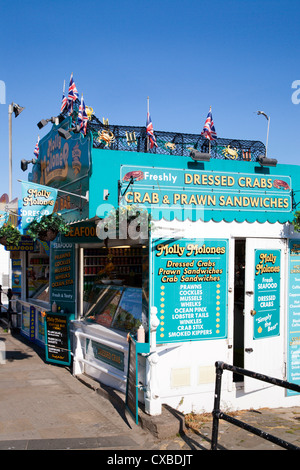 Seafood stall at South Sands, Scarborough, North Yorkshire, Yorkshire, England, United Kingdom, Europe - Stock Photo