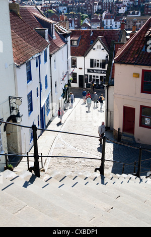 The 199 Steps in Whitby, North Yorkshire, England, United Kingdom, Europe - Stock Photo