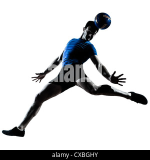 one caucasian man heading playing soccer football player silhouette  in studio isolated on white background - Stock Photo
