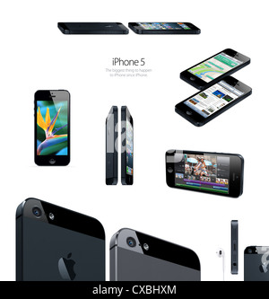 Images of Apple iPhone 5 mobile phone advertisement - Stock Photo