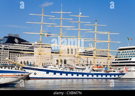 Royal Clipper cruise ship in Naples Port, Campania, Italy, Europe - Stock Photo