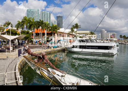 Bayside Marketplace and Marina, Miami, Florida, United States of America, North America - Stock Photo