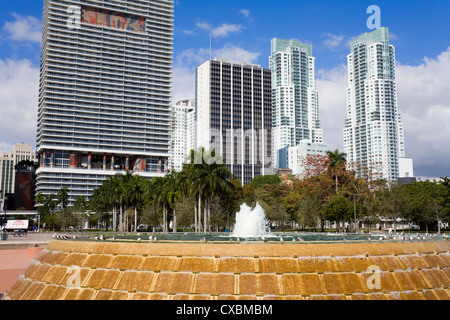 Fountain in Bayfront Park, Miami, Florida, United States of America, North America - Stock Photo