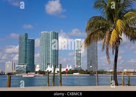 Miami skyline, Florida, United States of America, North America - Stock Photo