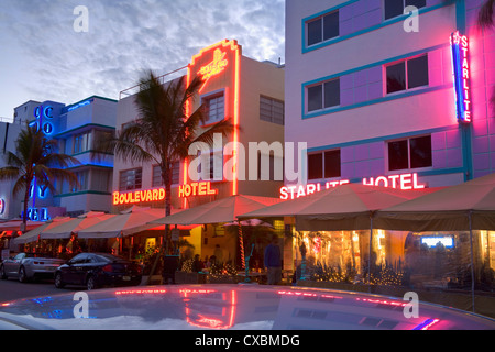 Hotels on Ocean Drive, South Beach, City of  Miami Beach, Florida, United States of America, North America - Stock Photo
