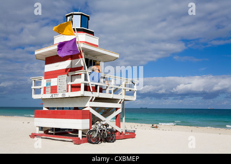 Lifeguard tower on South Beach, City of Miami Beach, Florida, United States of America, North America - Stock Photo