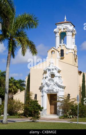Historic Congregational Church, Coral Gables, Miami, Florida, United States of America, North America - Stock Photo