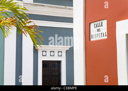 Calle de Hospital in Old City of San Juan, Puerto Rico Island, West Indies, United States of America, Central America - Stock Photo